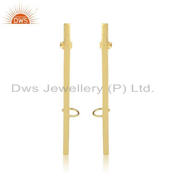 Handmade Stick Yellow Gold Plated Brass Fashion Cuff Earrings