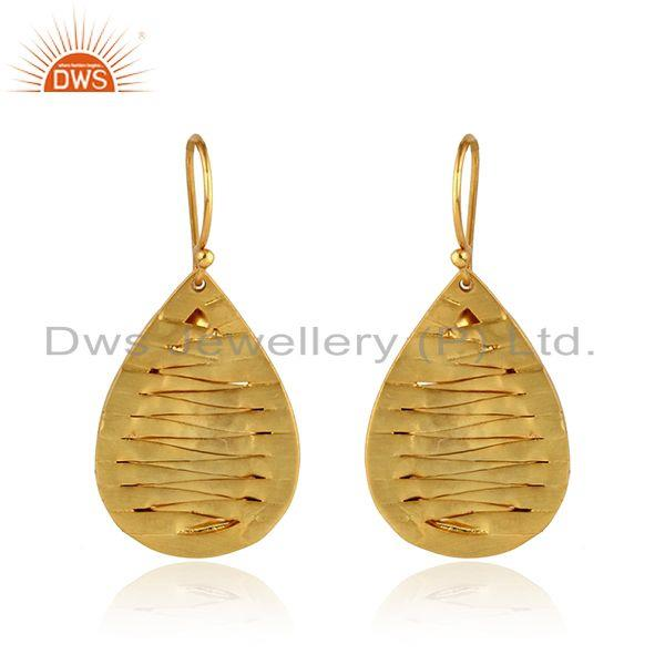 Handmade Yellow Gold Plated Brass Fashion Drop Earrings Jewelry