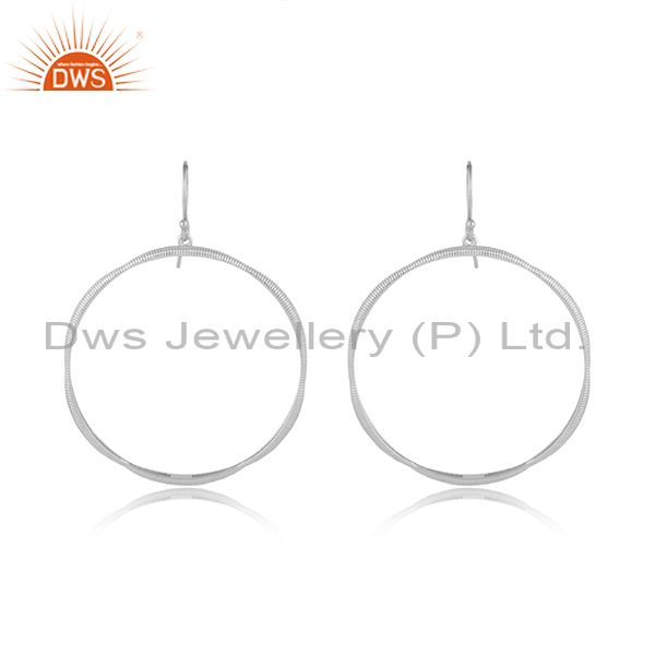 Silver plated round disc design brass fashion earrings jewelry