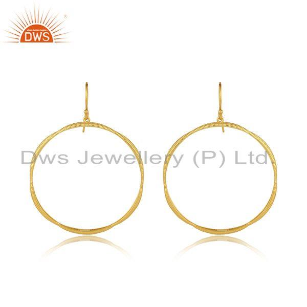 Round disc designer brass gold plated fashion hook earrings jewelry
