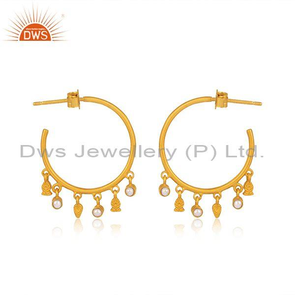 Pearls set gold on silver round hoop traditional earrings