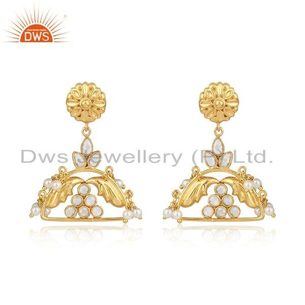 CZ Pearl Gemstone Traditional Gold Plated Brass Fashion Earrings