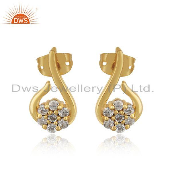 Designer Petite Fashion Studs with Yellow Gold Plating and Cz