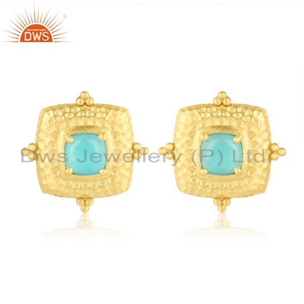 Designer Hammered Fashion Stud with Gold on and Aqua Chalcedony