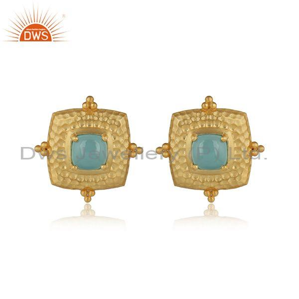 Aqua chalcedony set gold on silver square ethnic earrings