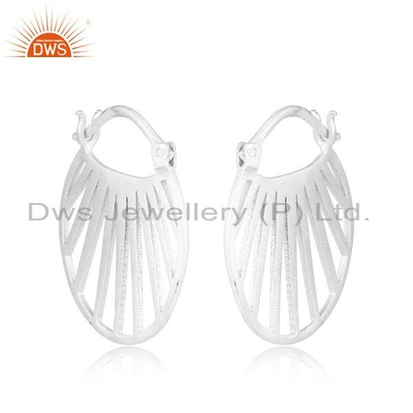 Designer Fan Hoop Fashion Jewelry with Sterling Silver Plating