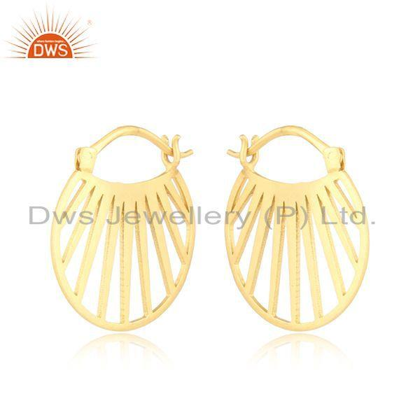 Designer fan hoop fashion jewelry with yellow gold plating