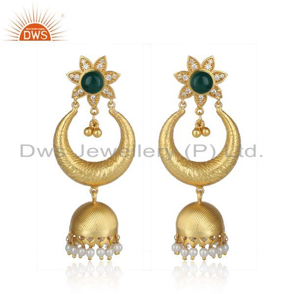 Traditional design gold on fashion jhumka pearl green onyx and cz