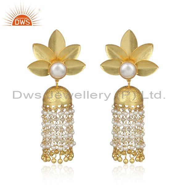 Traditional Floral Design Gold on Silver 925 Pearl Earring