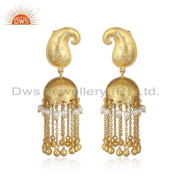 Traditional gold on long chain fashion jhumka with pearls and cz