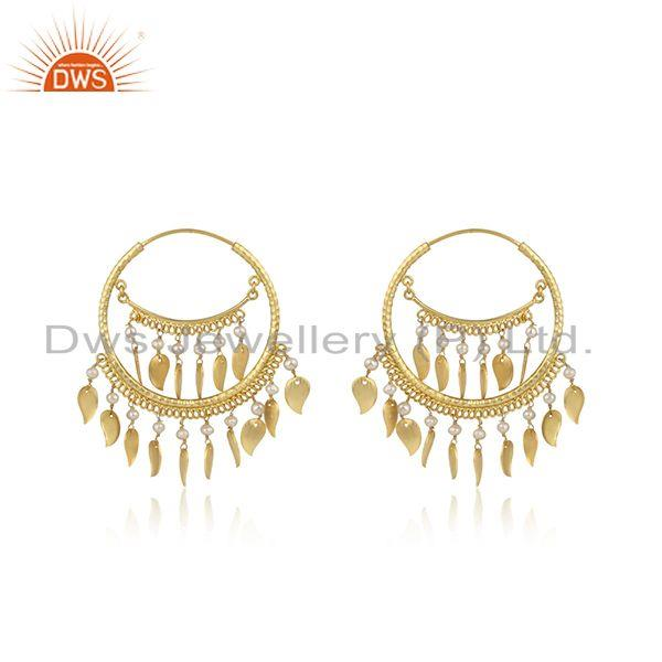 Traditional chand bali design pearl yellow gold on silver earrings