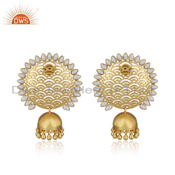 Designer filigree yellow gold on large fashion earring with pearls