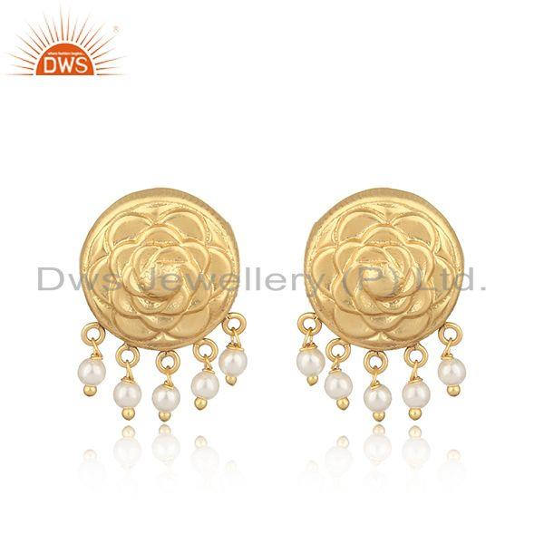 Handmade traditional yellow gold on fashion earring with pearl