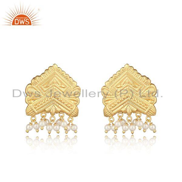 Handcrafted traditional yellow gold on fashion earring with pearl