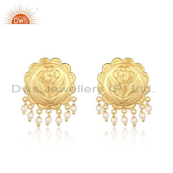 Floral Designer Fashion Earring in Yellow Gold on with Pearls