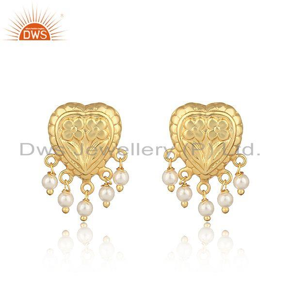 Handcrafted heart designer gold on fashion earring with pearls