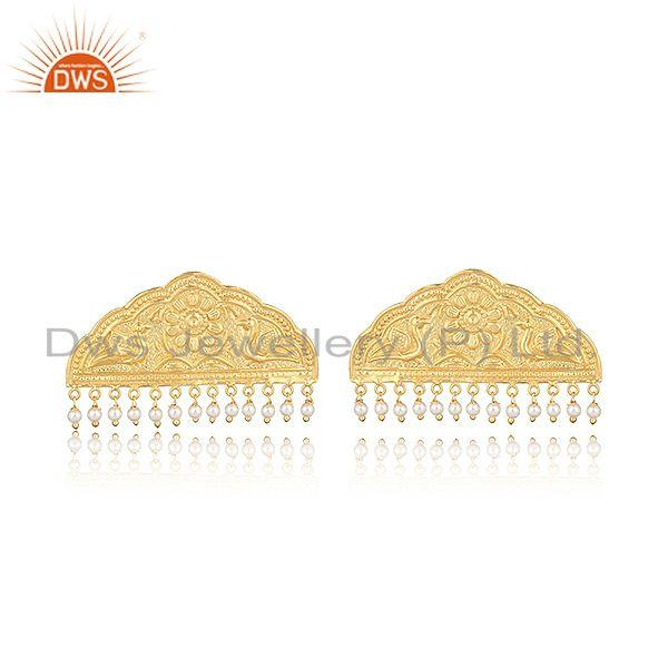 Handcrafted classic designer gold on fashion earring with pearls