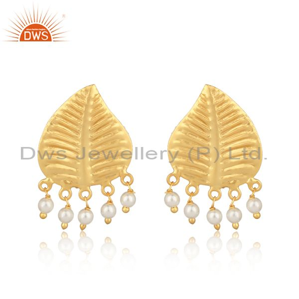 Leaf design textured yellow gold on fashion earring with pearls