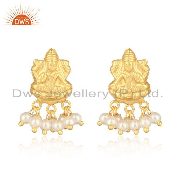 Goddess design traditional yellow gold fashion earring with pearl