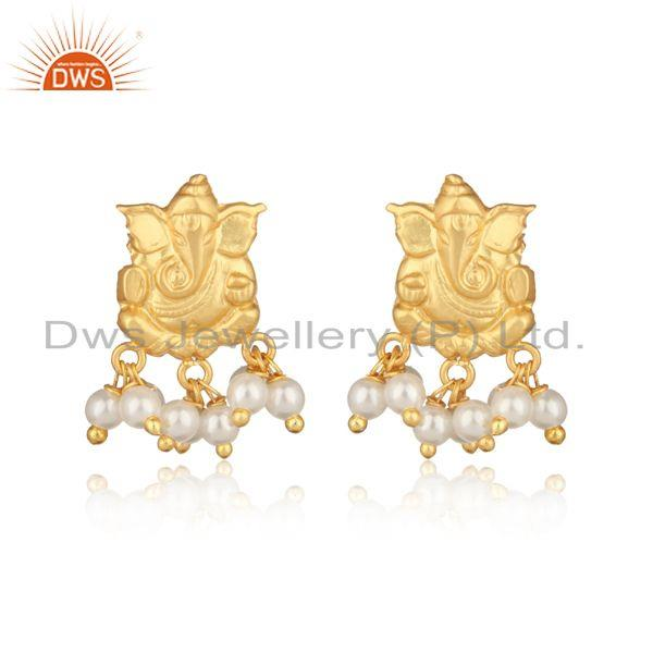 Ganesha Design Traditional Yellow Gold Fashion Earring with Pearl