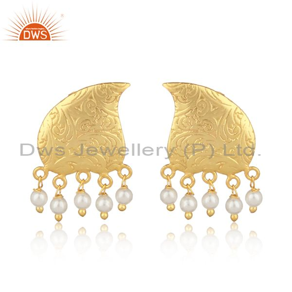 Textured traditional designer gold on fashion earring with pearls