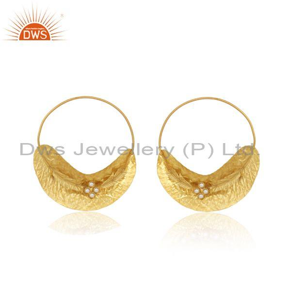 Handmade Textured Leaf Design Gold on Fashion Pearl Earring
