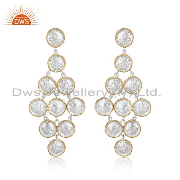 Fancy Brass Gold Plated White Chandelier Earrings