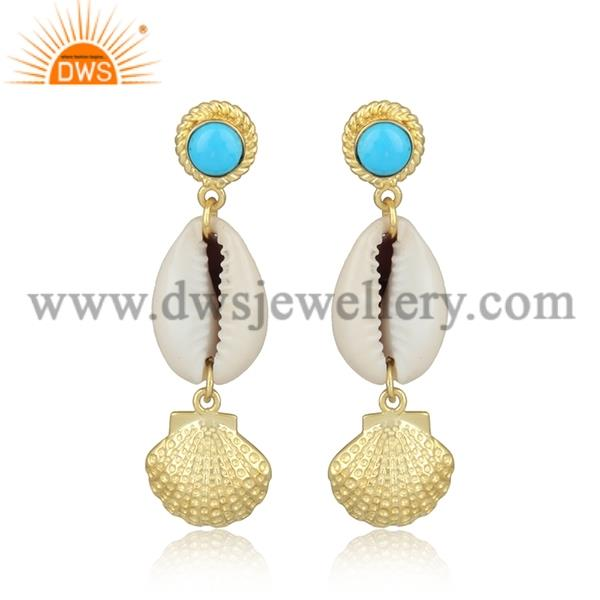 Turquoise Cultured Cabushion And Cowrie Brass Gold Earrings