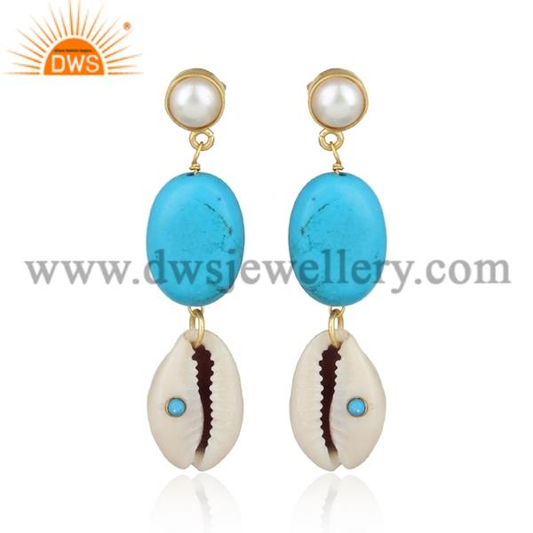 Cowrie, Pearl, Chinese Turquoise And Turquoise Earrings