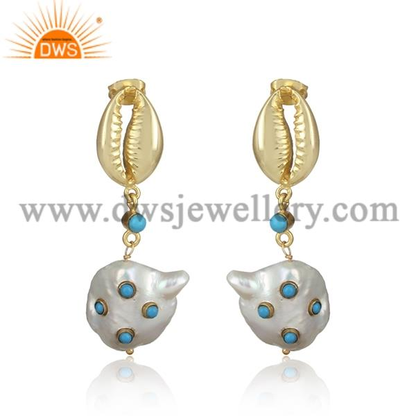 Turquoise and fresh water pearl brass drop earrings