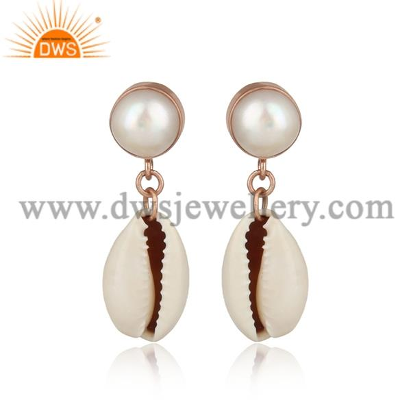 Cowrie And Pear Brass Gold Drop Earrings