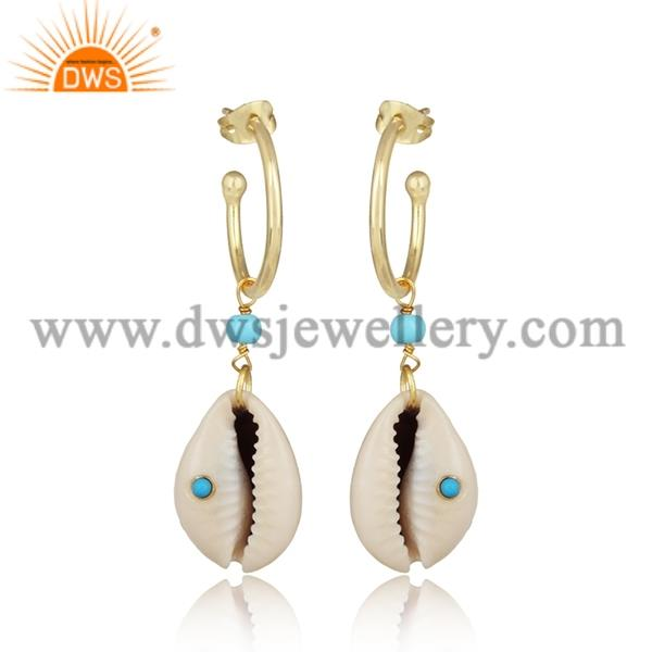 Cowrie And Turquoise Cultured Brass Gold Drop Earrings