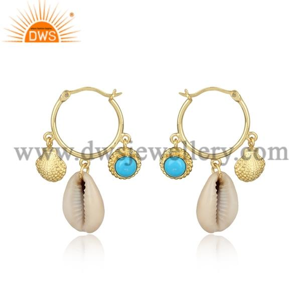 Cowrie And Turquoise Cultured Round Brass Gold Earrings