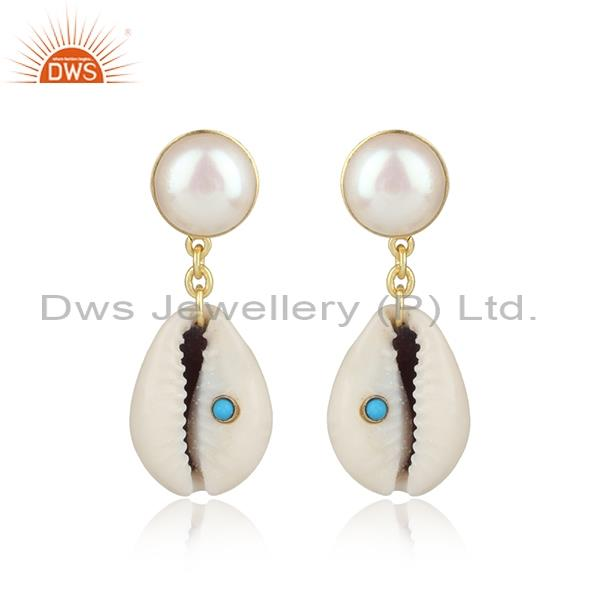 Cowrie, Pearl And Turquoise Brass Tear Shaped Earrings