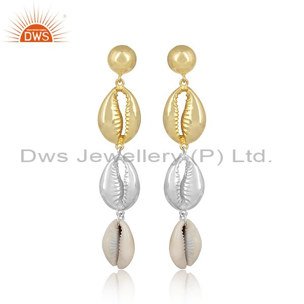 Cowrie Fancy Beaded Tear Drop Brass Gold White Earrings