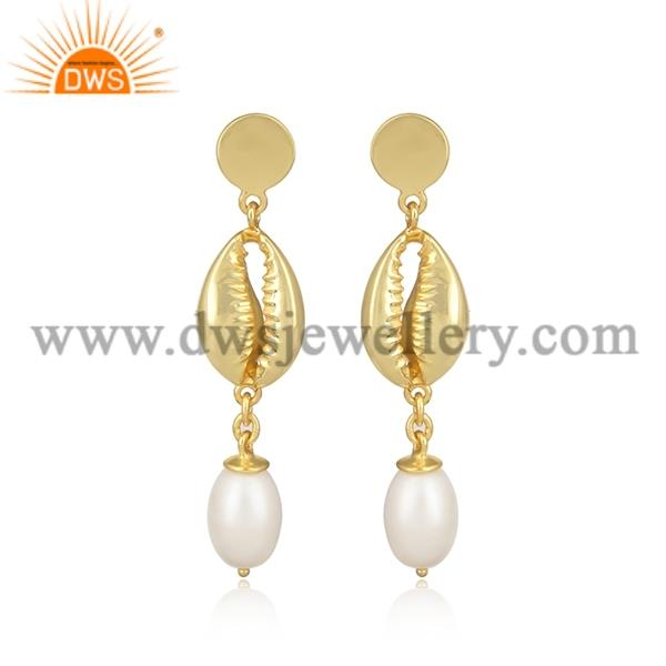 Pearl and gold beaded brass gold earrings