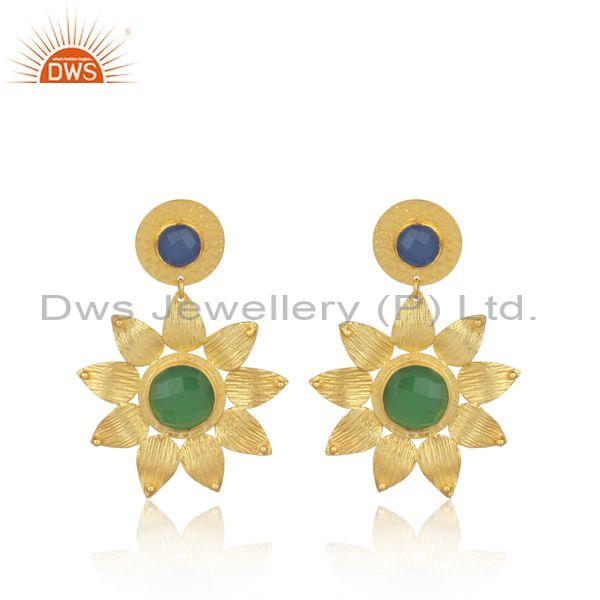 Hydro chalcedony, prehnite set gold on brass floral earring