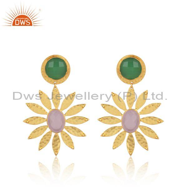 Glass rose, prehnite set gold on brass fashion floral earring