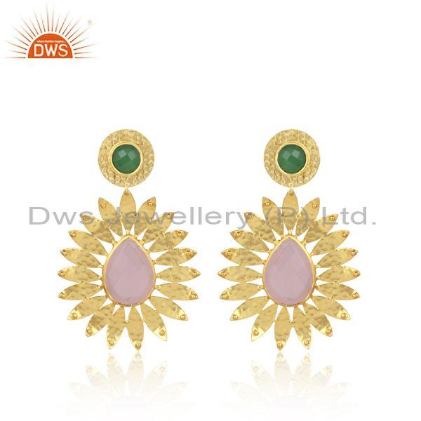 Pear shaped glass rose set gold on brass ethnic earrings