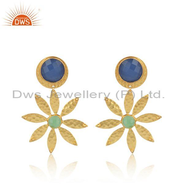 Glass blue chalcedony set ethnic gold on brass floral earrings