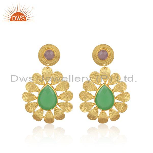 Pear Shaped Prehnite Set Floral Ethnic Gold On Brass Earring