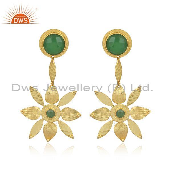 Glass prehnite set hand hammered brass floral drop earrings