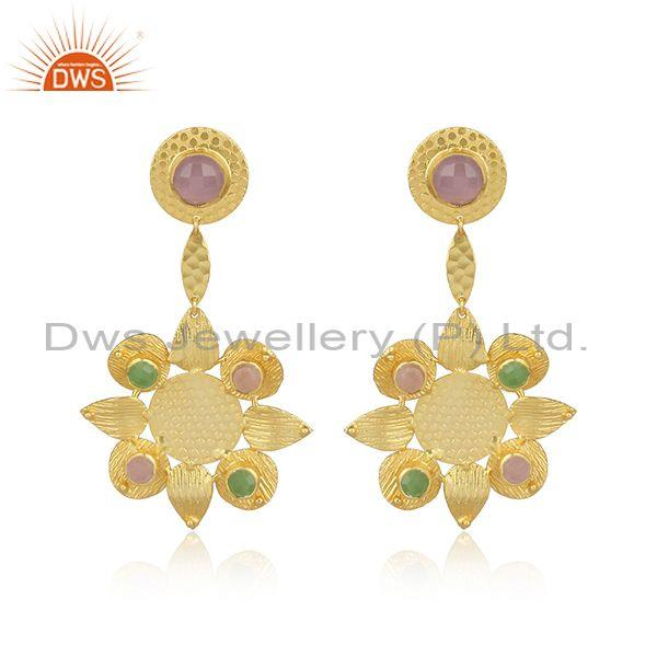 Gemstones set handmade brass floral fashion drop earrings