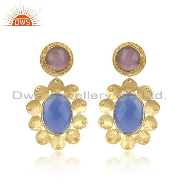 Oval glass blue chalcedony set textured brass gold earrings