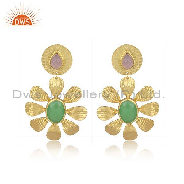 Glass rose, prehnite set brass textured floral drop earrings