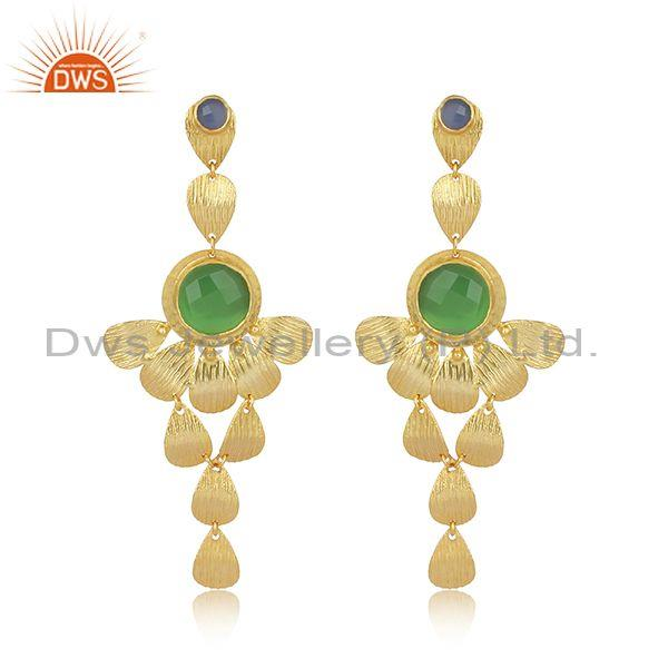 Glass Prehnite Set Brass Hammered Textured Long Drop Earring