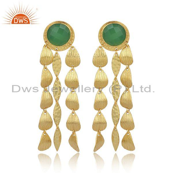 Handmade glass prehnite brass texture long statement earring
