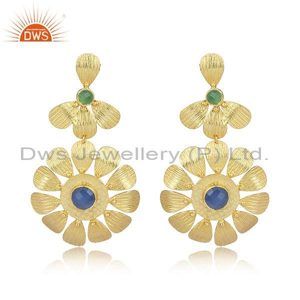 Glass blue chalcedony set textured floral brass earrings