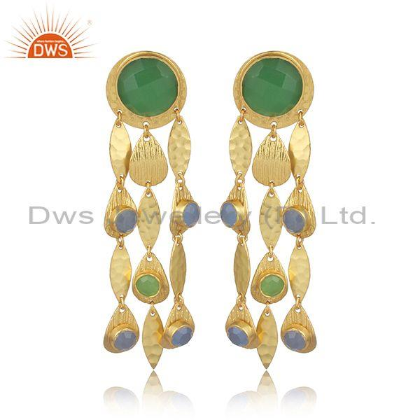 Glass Prehnite Set Textured Leaf Long Drop Brass Earrings