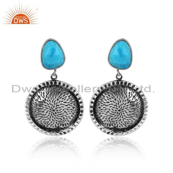 Turquoise set oxidized 925 silver textured round earrings